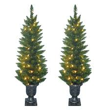 shop sylvania 2 pack 4 ft outdoor pine pre lit decorative