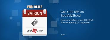 bookmyshow offer bookmyshow offers coupons rs 100 discount icici bank