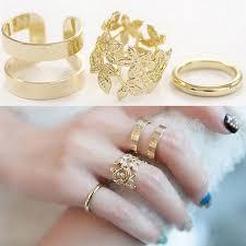 fashion golden rings images Fashion lady 39 s golden ring set wide adjustable leaf shape wide jpg