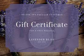lavender floral massage gift certificate templates by canva