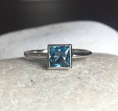 stackable birthstone rings square blue stacking ring tiny blue topaz ring small december