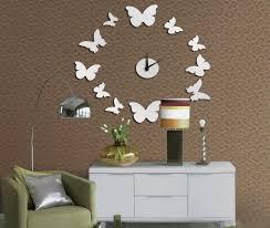 Mirror Wall Decals And Wall by Toprate Tm Silver Beautiful Butterfly Circle Round Wall Clock