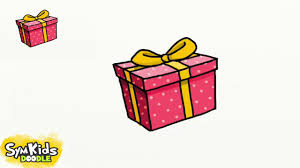 how to draw a gift box youtube