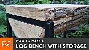 tables made from logs how to make a log bench with hidden storage youtube