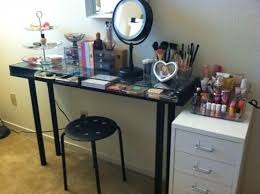 glass top vanity table furniture diy two tiers glass top vanity table with makeup makeup