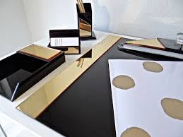 Modern Desk Set Lucite Acrylic Black And Gold Mirrored Modern Desk Set Accessories