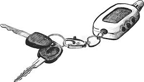sketch of car keys with remote conntrole stock vector image