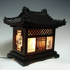 Oriental Table Lamps Uk Wood Art Shade Korean House Decorative Lantern Bedside Bedroom