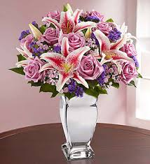Bouquet Of Flowers In Vase Reflections Of Love Flowers In Silver Vase 1800flowers Com
