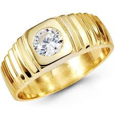 mens gold ring cz solitaire 14k yellow gold mens ring at jewelryvortex free