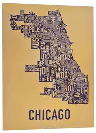 Map Poster The Original Chicago Type Neighborhoods Map Locally Made In Chicago