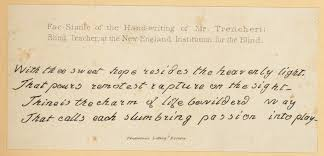 fac simile of the hand writing of mr trencheri blind teacher at