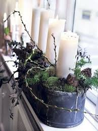 Tin Buckets For Centerpieces by Natural And Simple Candles Pinecones Moss Branches