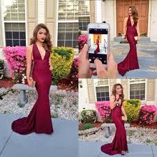 summer spring burgundy mermaid long red prom dresses backless