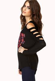forever 21 cutout plaid sweater in black lyst