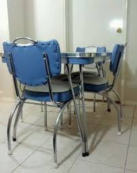 Retro Vinyl Dining Chairs Vintage Retro Blue Laminex Laminate Kitchen Table 6 Seater Ebay