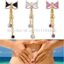 top belly rings images Cz rhinestone bowknot 14g gold jeweled top drop dangle reverse jpg