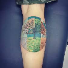 colorful tree on back leg