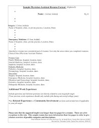 Examples Of A Medical Assistant Resume by Sample Physician Assistant Resume Format Option I