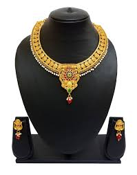 ethnic gold necklace images Flanoy traditional and ethnic gold plated necklace set with jpg