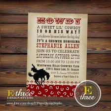 theme cowboy baby shower invitations