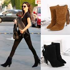 womens boots in style 2017 style pleated tassels pointed high heels ankle boots