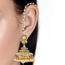 big jhumka gold earrings buy big jhumka pearl polki flower jhumki traditional style earring