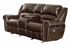 furniture dark brown leather recliner and glider sofa with nails