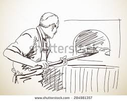 sketch man baking bread hand drawn stock vector 284981357