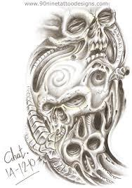 scary biomechanical skull tattoo design