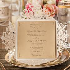 Wholesale Wedding Invitations Champagne Gold Laser Cut Wedding Invitations