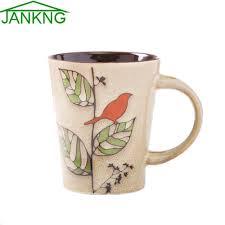 novelty coffee mugs jankng 400ml bird tree pant ceramic mugs cup novelty hand painted