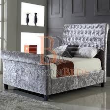 Velvet Sleigh Bed Velvet Sleigh Bed With Bed Silver Crushed Velvet Sleigh Bed