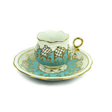 turkish coffee cup and saucer with a velvet box aqua