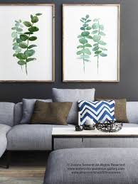 eucalyptus print set 2 botanical art prints green leaves wall