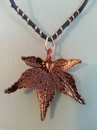 leather leaf necklace images Leather necklace with a copper frosted japanese maple leaf jpg