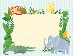 Jungle Theme Invitation Card Animals Themed Blank Invitation Card Stock Vector Art 173773327