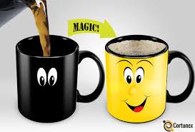 cortunex yellow wake up magic mug amazing heat sensitive