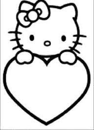 kitty coloring book sheet black white picture