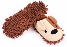 amazon com hometop plush fluffy cute animal microfiber mop amazon com hometop plush fluffy cute animal microfiber mop cleaning house slippers shoes for women 8 9 l brown white dog home kitchen