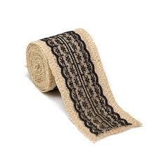burlap ribbon roll with black lace for weddings events or home
