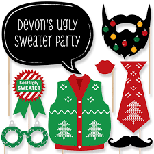 ugly sweater holiday u0026 christmas party photo booth props kit