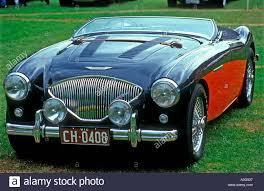 black and teal car austin healey 100 black and red melbourne australia stock photo
