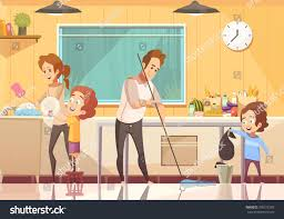 kids helping parents cleaning kitchen retro stock vector 709217287