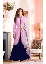 pink colour bhagalpuri with embroidery work lehenga suit