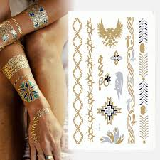 buy temporary tattoos eft78 gold silver metallic flash tattoos