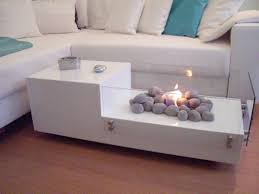 elegant design of modular coffee table with fireplace on middle