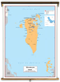 Bahrain Map Middle East by Bahrain Political Educational Wall Map From Academia Maps