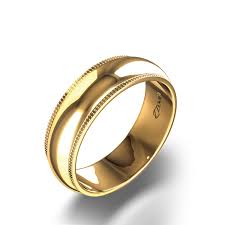 gold wedding band mens milgrain wedding band in 14k yellow gold