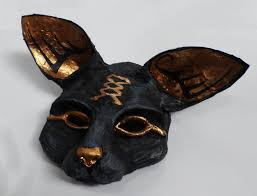 bast goddess mask cat mask black and gold